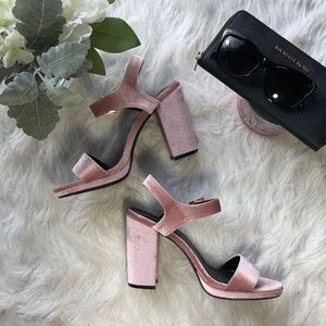 Crushed Velvet Blush Pink Block Chunky Heels
